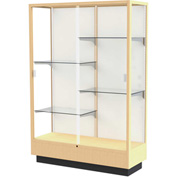 "Heritage Display Case Honey, Fabric Back 48""W x 18""D x 70""H"