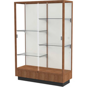 "Heritage Display Case Danish Walnut, Fabric Back 48""W x 18""D x 70""H"