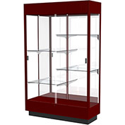 "Heritage Lighted Floor Display Case 48""W x 70""H x 18""D Hardwood Cordovan Finish Mirror Back"
