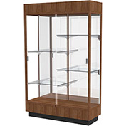 "Heritage Lighted Floor Display Case 48""W x 70""H x 18""D Hardwood Walnut Finish Mirror Back"