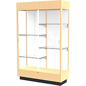 "Heritage Lighted Floor Display Case 48""W x 70""H x 18""D Hardwood Natural Finish White Back"