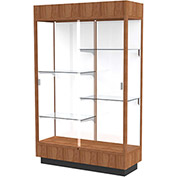 "Heritage Lighted Floor Display Case 48""W x 70""H x 18""D Hardwood Walnut Finish White Back"