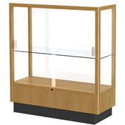"Heritage Display Case Autumn Oak, White Back 36""W x 14""D x 40""H"