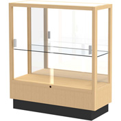 "Heritage Display Case Honey, Mirror Back 36""W x 14""D x 40""H"