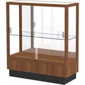 "Heritage Display Case Danish Walnut, Fabric Back 36""W x 14""D x 40""H"
