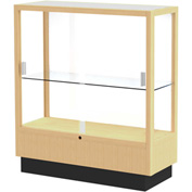 "Heritage Display Case Honey, White Back 36""W x 14""D x 40""H"