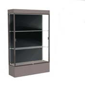 "Edge Lighted Floor Case, Black Back, Dark Bronze Frame, 12"" Morro Zephyr Base, 48""W x 76""H x 20""D"