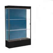 "Edge Lighted Floor Case, Blue Steel Back, Dark Bronze Frame, 12"" Black Base, 48""W x 76""H x 20""D"