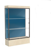 "Edge Lighted Floor Case, Blue Steel Back, Dark Bronze Frame, 12"" Chardonnay Base, 48""W x 76""H x 20""D"