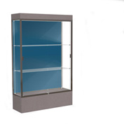 "Edge Lighted Floor Case, Blue Steel Back, Bronze Frame, 12"" Morro Zephyr Base, 48""W x 76""H x 20""D"