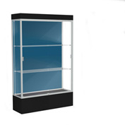 "Edge Lighted Floor Case, Blue Steel Back, Satin Frame, 12"" Black Base, 48""W x 76""H x 20""D"