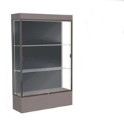 "Edge Lighted Floor Case, Slate Back, Dark Bronze Frame, 12"" Morro Zephyr Base, 48""W x 76""H x 20""D"