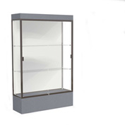 "Edge Lighted Floor Case, White Back, Dark Bronze Frame, 12"" Carbon Mesh Base, 48""W x 76""H x 20""D"