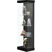 "Vantage 24""W Modern Floor Display Case Wood Laminate LED Lighting Sliding Dr Right Black"