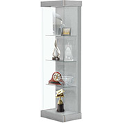 "Vantage 24""W Modern Floor Display Case Wood Laminate LED Lighting Sliding Dr Right Brushed Silver"