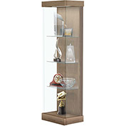 "Vantage 24""W Modern Floor Display Case Wood Laminate LED Lighting Sliding Dr Right Uptown Walnut"