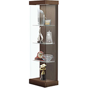 "Vantage 24""W Modern Floor Display Case Wood Laminate LED Lighting Sliding Dr Right Walnut Heights"