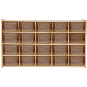 "20 Tray Cubby Storage, Unassembled w/Clear Trays, 46-3/4""W x 12""D x 27-1/4""H"