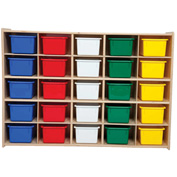"25 Tray Cubby Storage, Assembled w/Assorted Trays, 46-3/4""W x 12""D x 33-7/8""H"