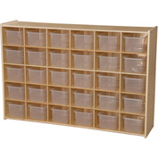 "30 Tray Cubby Storage, Unassembled w/Clear Trays, 50-3/4""W x 12""D x 33-7/8""H"