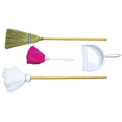 Wood Designs™ Housekeeping Station - Broom, Mop, Duster, Dust Pan
