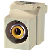 Legrand® KSRCAYLA Keystone RCA to RCA Inserts (Yellow Insulator), Light Almond - Pkg Qty 10