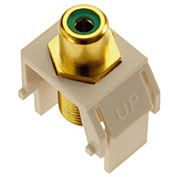 Legrand® WP3463-LA Green RCA to F-Connector Keystone Insert, Light Almond (M20) - Pkg Qty 20