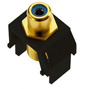 Legrand® WP3464-BK Blue RCA to F-Connector Keystone Insert, Black (M20) - Pkg Qty 20
