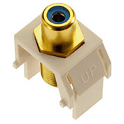 Legrand® WP3464-LA Blue RCA to F-Connector Keystone Insert, Light Almond (M20) - Pkg Qty 20