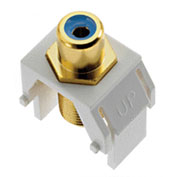 Legrand® WP3464-WH Blue RCA to F-Connector Keystone Insert, White (M20)