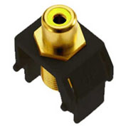 Legrand® WP3465-BK Yellow RCA to F-Connector Keystone Insert, Black (M20) - Pkg Qty 20