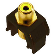 Legrand® WP3465-BR Yellow RCA to F-Connector Keystone Insert, Brown (M20) - Pkg Qty 20