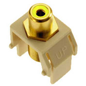 Legrand® WP3465-LA Yellow RCA to F-Connector Keystone Insert, Light Almond (M20) - Pkg Qty 20