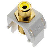 Legrand® WP3465-WH Yellow RCA to F-Connector Keystone Insert, White (M20) - Pkg Qty 20