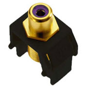 Legrand® WP3466-BK Purple RCA to F-Connector Keystone Insert, Black (M20) - Pkg Qty 20