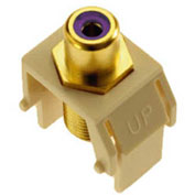 Legrand® WP3466-LA Purple RCA to F-Connector Keystone Insert, Light Almond (M20) - Pkg Qty 20
