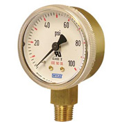 "2.5"" Type 111.11 30PSI Gauge - 1/4"" NPT LM Polished Brass Red Band"