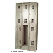 "Winholt Double Tier Locker WL-21 12""W x 12""D x 36""H 1 Wide Putty Assembled"