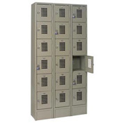 "Winholt Six Tier Locker WL-618/15 12""W x 15""D x 12""H 3 Wide Gray Assembled"