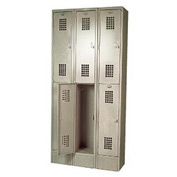 "Winholt Double Tier Locker WL-6/15 12""W x 15""D x 36""H 3 Wide Putty Assembled"