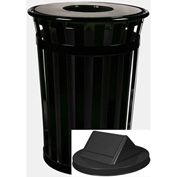 Witt Oakley 36 Gallon Slatted Steel Swing Top Receptacle, Black - M3601-SWT-BK