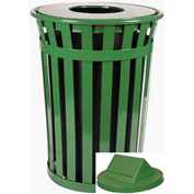 Witt Oakley 36 Gallon Slatted Steel Swing Top Receptacle, Green - M3601-SWT-GN