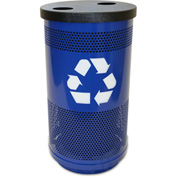 Stadium Series® 35 Gallon Recycling Unit, 2 Hole Flat Top Lid, Blue Streak II - SC35-02-BL-FHH
