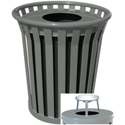 Wydman 36 Gallon Slatted Steel Receptacle w/Ash Top, Silver - WC3600-AT-SLV