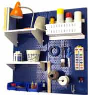 "Wall Control Pegboard Hobby Craft Organizer Storage Kit, Blue/White, 32"" X 32"" X 9"""