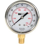"2 1/2"" dial, liquid filled, 1/4"" NPT bottom, 0-100 PSI"