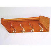 "24 3/4"" Hat & Coat Rack with 4 Brass Hooks - Medium Oak"
