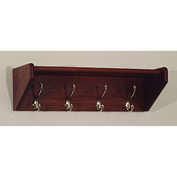 "24 3/4"" Hat & Coat Rack with 4 Nickel Hooks - Mahogany"