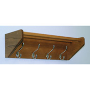 "24 3/4"" Hat & Coat Rack with 4 Nickel Hooks - Medium Oak"
