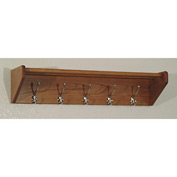 "32 3/4"" Hat & Coat Rack with 5 Nickel Hooks - Medium Oak"